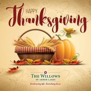happy thanksgiving 2016, willows of arbor lakes mn, maple grove senior living