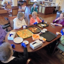 halloween cookie baking, willows of arbor lakes senior living mn